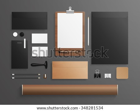 Set of corporate identity and branding mock up. Vector illustration - stock vector