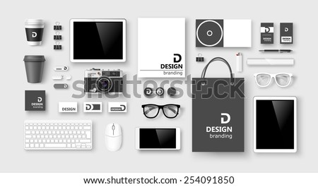 Set of corporate identity and branding on light background. Vector illustration - stock vector