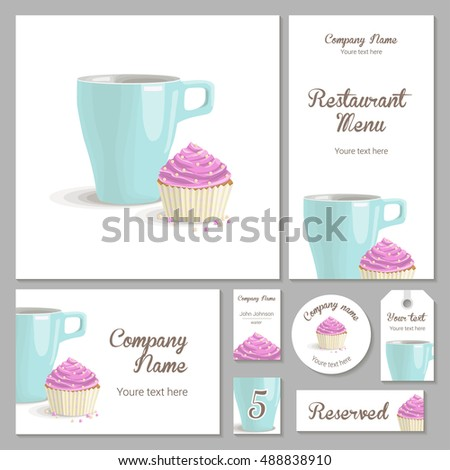 Set of corporate identity for a restaurant, cafe or confectionery, cake with pink cream in a basket and turquoise cup on a white background