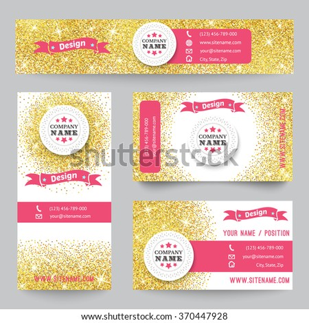 Set of corporate identity templates with golden theme. Vector illustration for pretty design. Ethnic gold vintage frame. Pink, yellow and white colors. Border, frame, icon elements. - stock vector