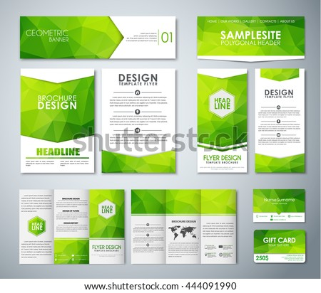 Set corporate style green polygonal elements stock vector royalty set of corporate style with green polygonal elements templates pamphlets flyers banners reheart Choice Image