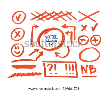 Set of correction and highlight elements, part 2. Circles, arrows, cross signs etc. Hand drawn with marker pen. Vector illustration. - stock vector