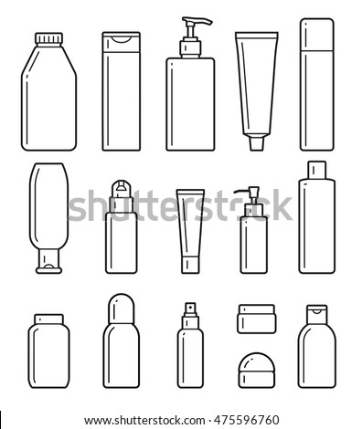 set of cosmetic bottles icons on a white background.