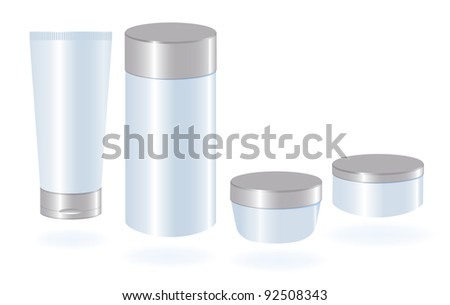 Set of cosmetic container templates. - stock vector