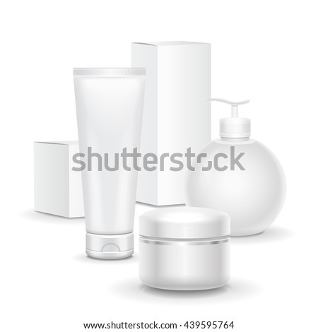 Set of cosmetic products on a white background. Cosmetic package collection for cream, soups, foams