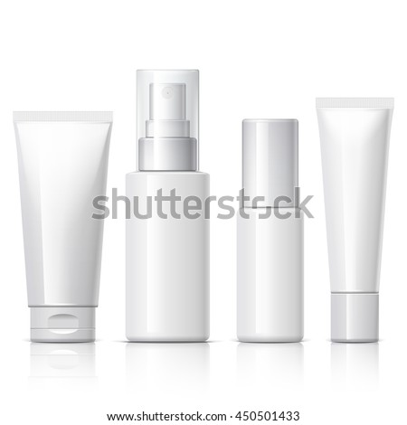 set of cosmetic products on a white background. Package collection for cream, soups, foams, shampoo. Object, shadow, and reflection on separate layers. vector illustration.