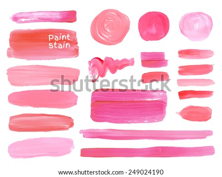 Set of cosmetic texture round stains isolated on white. Vector oil paint texture. Make up colors. - stock vector