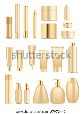 Set of cosmetic tubes isolated on white. Gold and white colors. Place for your textVector - stock vector