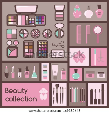 Set of cosmetics icons. Makeup vector illustration - stock vector