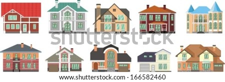 set of country houses for families - stock vector