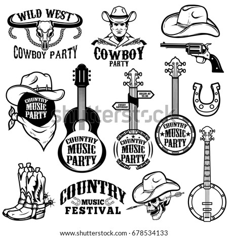set country music festival emblems design stock vector 678534133 rh shutterstock com country music clipart images country music clipart black and white