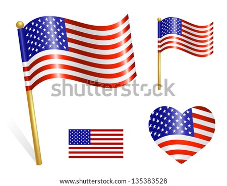 Set of Country USA flag icons - stock vector