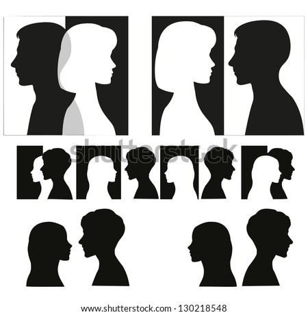 Set of couple silhouettes. - stock vector