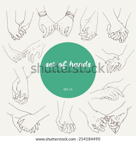 set of couples holding hands, vector hand drawn illustration - stock vector
