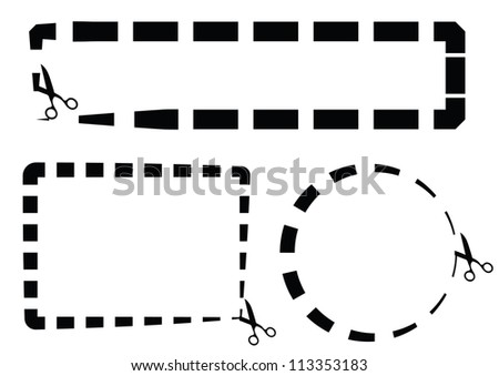Set of Coupon Border Dotted lines