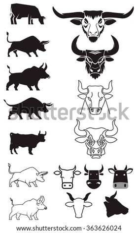 Set of cow and bulls silhouettes. Cow and bull heads. Design elements for logo, label or emblem. Vector illustration. - stock vector