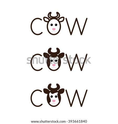 Set of cow lettering with lettering o in the shape of cow`s head with horns isolated on white background. Logo template. Design element - stock vector