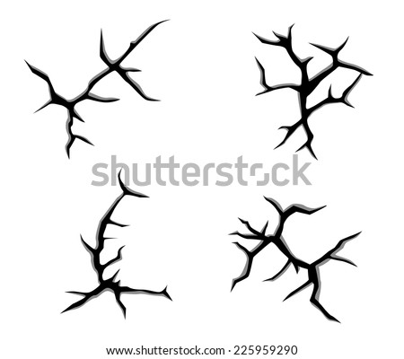 Set of cracks and clefs isolated on white background for disaster design