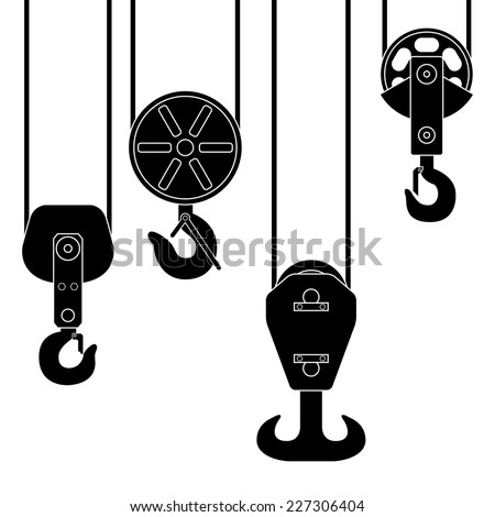 Set of crane hook suspension. Special device for lifting loads. Vector illustration. Black silhouette on white background - stock vector
