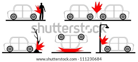 Set of crash car. Vector illustration. - stock vector