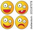 Set of crazy smileys - stock vector