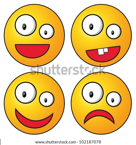 Set of crazy smileys