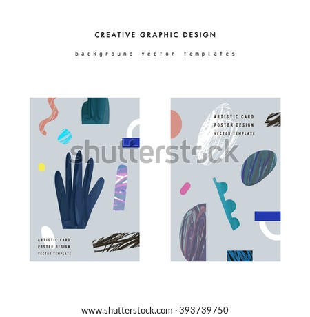 Set of creative abstract posters. Hand drawn textures. Paper cut elements. Design for card, invitation, placard, brochure, flyer. Vector. Isolated. - stock vector