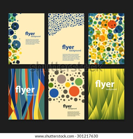 Set of Creative Card, Flyer or Cover Designs with Dotted and Abstract Colorful Pattern Backgrounds - stock vector