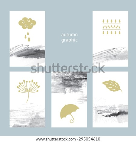 Set of creative card with abstract hand draw graphic and autumn design elements - stock vector