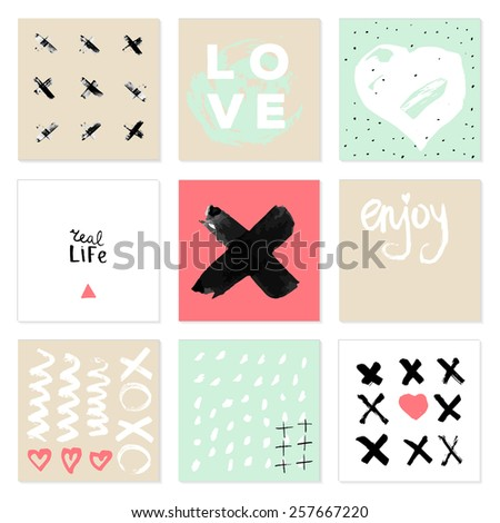 Set of 9 creative cards. Hand Drawn textures  and lettering made with ink.  - stock vector