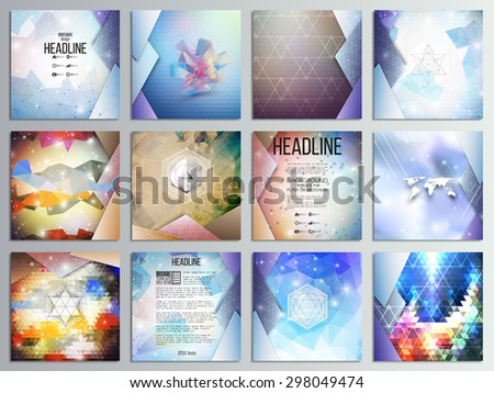 Set of 12 creative cards, square brochure template design, geometric science backgrounds set, abstract triangular colorful vector patterns. - stock vector