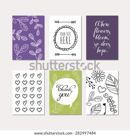 Set of creative cards with floral theme design. Vector design templates for greeting / gift cards, flyers, posters, banners, patterns, art decoration etc. - stock vector