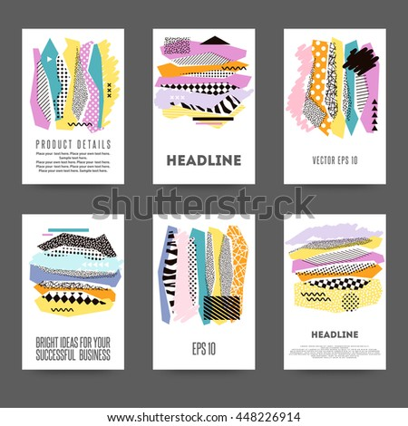 Set of creative cards with geometric shapes - stock vector