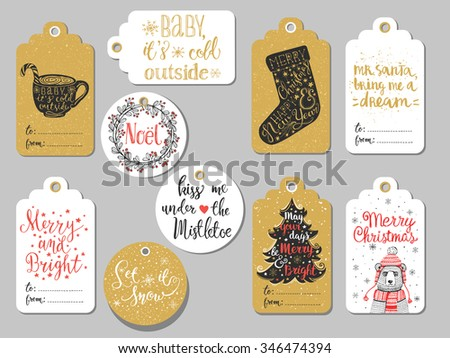 Set of 10 creative Christmas hand drawn gift tags. Cup of hot chocolate, peppermint lollipop, Christmas sock, Christmas tree, mistletoe wreath, handwritten lettering, bear in knitted hat and scarf  - stock vector