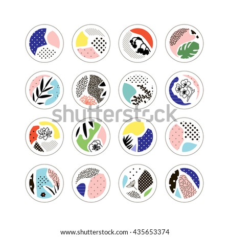 Set of creative circles with floral elements and different textures. Decor elements  for poster, card, invitation, placard, brochure, flyer. Vector. Isolated - stock vector