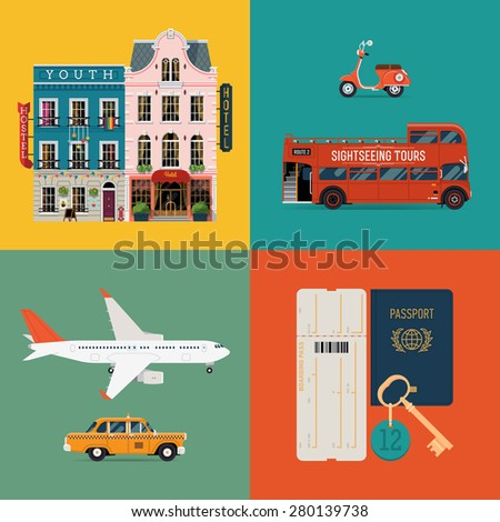 Set of creative detailed vector icons on traveling and tourism featuring transport vehicles retro scooter, double decker touring bus, airliner, taxi cab car, travel documents and hotel buildings - stock vector