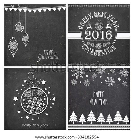 Set of creative greeting cards with stylish ornaments on chalkboard background for Merry Christmas and Happy New Year celebration. - stock vector