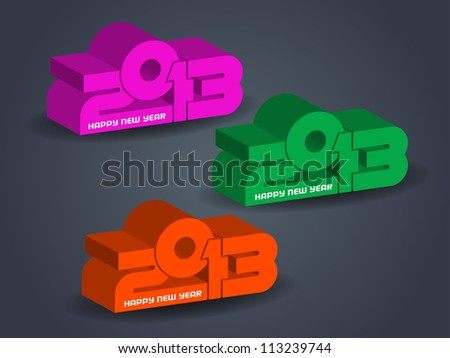 set of creative happy new year 2013 design elements in three colors. - stock vector