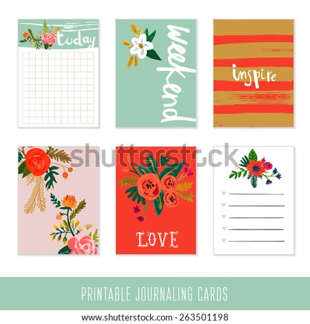 Set of 6 creative journaling cards. Hand Drawn textures made with ink and watercolor. - stock vector