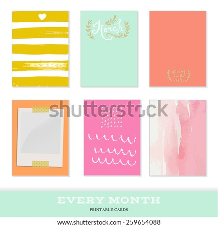 Set of 6 creative journaling cards. Hand Drawn textures made with ink. Every Month Collection - March - stock vector