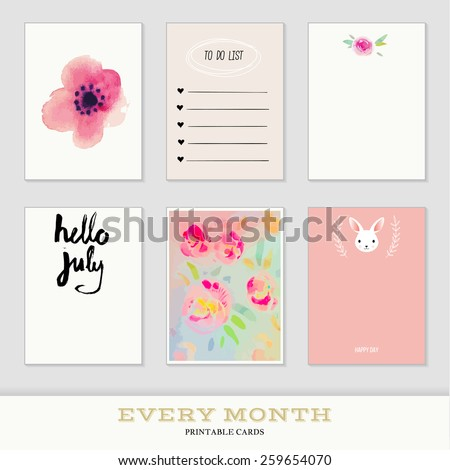 Set of 6 creative journaling cards. Hand Drawn textures made with ink. Every Month Collection - July - stock vector
