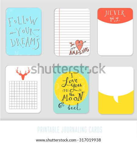 Set of 6 creative journaling cards. Inspiration and romantic handdrawn quotes. - stock vector