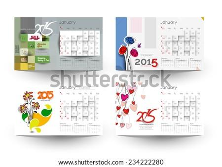 Set of Creative New Year Calendar 2015 Background.  - stock vector