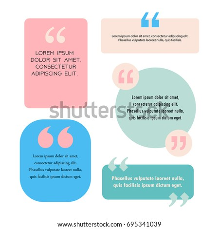 set of creative quote text bubbles templates in pastel colors layouts with commas