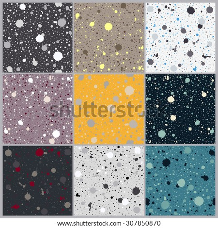 Set of creative seamless paint splatter patterns. Grunge spotted backgrounds with paint blobs. Collection of bright paint splashes backdrops. Colorful repetitive textile pattern collection. - stock vector