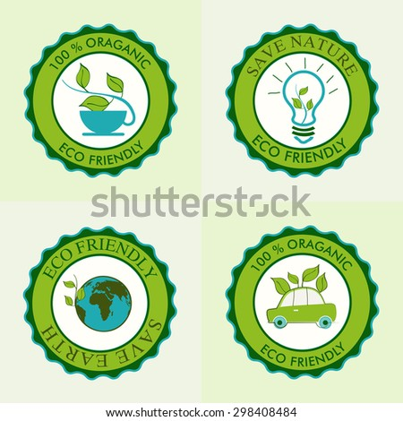 Set of creative sticker or label design for Save Earth and Nature concept. - stock vector
