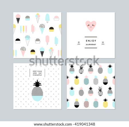 Set of creative trendy art posters plus seamless patterns with ice cream and pineapples. Hand drawn textures. Vector. Isolated. - stock vector