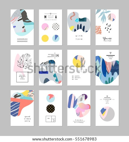 Set of creative universal art posters or cards. Hand Drawn textures. Wedding, anniversary, birthday, Valentin's day, party invitations, covers, decor elements.