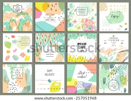 Set of 12 creative universal cards. Hand Drawn textures. Wedding, anniversary, birthday, Valentin's day, party invitations. Vector. Isolated. - stock vector