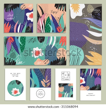 Set of creative universal floral cards. Hand Drawn textures. Wedding, anniversary, birthday, Valentin's day, party invitations. Vector. Isolated. - stock vector